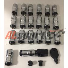 Комплект колесных гаек 12x1.25x45 Хром спец ключ М9 20 шт.резьбовой колпачек чер