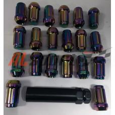 Комплект колесных гаек 12x1.25x35 Радужные ключ 17 20 шт. секретный спец ключ