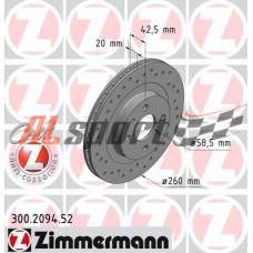 Диск тормозной передний LADA 2112 R14 Zimmerman SPORT (ком.2 шт)