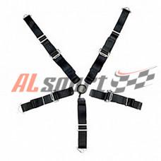 Ремень безопасности 5 точек черный 50мм