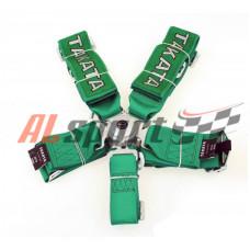Ремень безопасности 5 точек зеленый быстросъем TAKATA