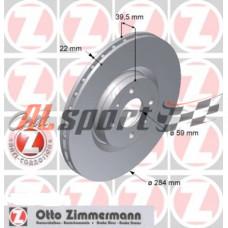 Диск тормозной передний LADA 21905 R15 Zimmerman (ком.2 шт) Калина Гранта SPORT