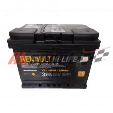 Аккумулятор 60 А/ч RENAULT Standart обратная R+ EN600 А 242x175x190 7711 238 597