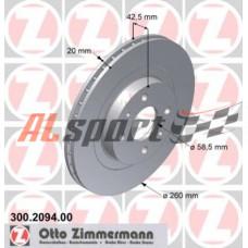 Диск тормозной передний LADA 2112 R14 Zimmerman (ком.2 шт)