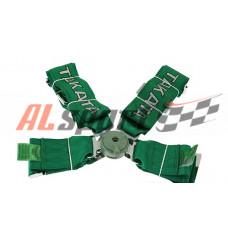 Ремень безопасности 4 точеки зеленый быстросъем TAKATA