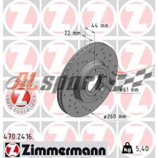 Диск тормозной передний LADA VESTA Zimmerman SPORT D=260mm (ком.2 шт) с ABS