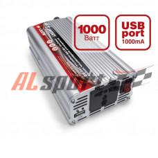 Преобразователь напряжения автомобильный AVS ENERGY 12/220в 1000вт. USB port +5V